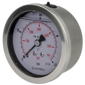 """Pressure gauge, glycerine ¼"""" axial"""