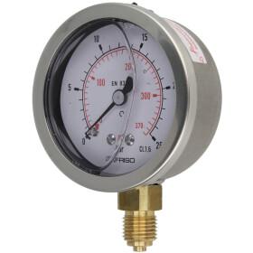 """Glycerine pressure gauge 1/4"""" radial"""