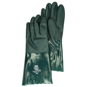 Pair of working gloves oil-resistant 35 cm green