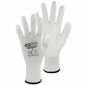 Micro fine-knit gloves white 12 pairs size L