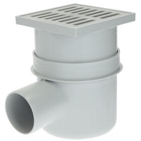 Cellar drain 15 x 15 cm horizontal DN 100 plastic grate