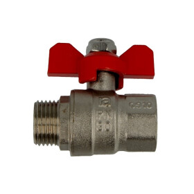 """Brass ball valve 1/2"""" IT/ET with wing handle red, PN..."""