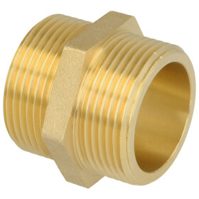 """Double nippel ET/ET 3/8"""" with hexagon brass bright"""