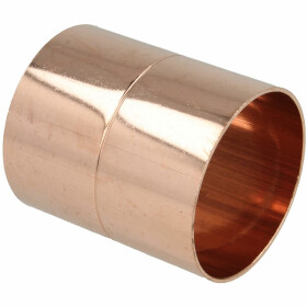 Soldered fitting copper socket with stop 76 mm