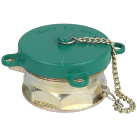 """Filler pipe lid 2 x 2½"""", green, with label..."""
