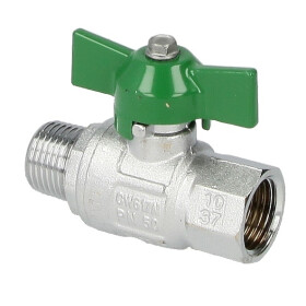 """Ball valve DVGW, 1/2"""" IT/ET, DN 15, 50 bar, wing handle"""