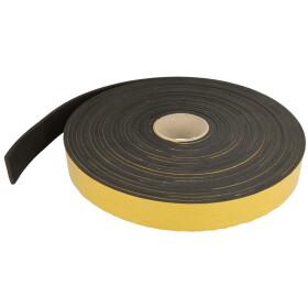 Cellular rubber strips, black 20 mm x 4 mm x 10 m