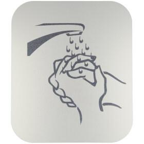 Pictogram, anodized aluminium, wash hands, self-adhesive