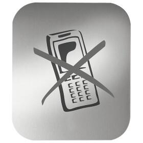 Pictogram, anodized aluminium, mobile phone forbidden,...
