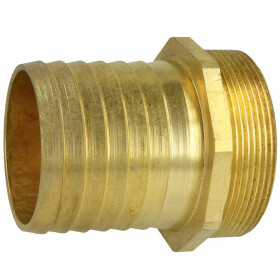 Brass hose connector with male thread and hexagonal...