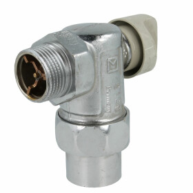 Gas connection ball valve 1, angle form, with safety...